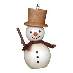Alexander Taron - Alexander Taron Christian Ulbricht Ornament - Snowman - 3H x 1.5W x 1.25D - Christian Ulbricht hanging ornament - snowman in natural wood finish- made in Germany.