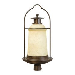 Exteriors - Exteriors Portofino Outdoor Post Lantern Light X-89-5274Z - From the Portofino Collection comes this uniquely designed Craftmade outdoor post lantern light. The frame features subtle European influencing and turned detailing accentuated by an elegant Antique Bronze finish. For added appeal, this post light also features an antique scavo glass shade whose gentle tapered shape pulls the look together.