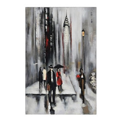 "Ren Wil - Ren Wil OL591 Bustling City II Figures Abstraction 34"" x 24"" Wall Art by Dominic - Features:"