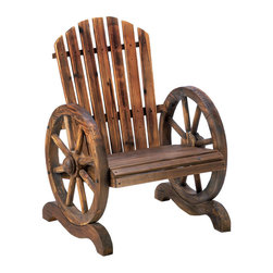 n/a - Wagon Wheel Adirondack Chair - Country-style living has never been more charming or relaxing!  This welcoming outdoor chair features slatted wood and wagon wheel arm rests.  Fir wood.  Some assembly required.