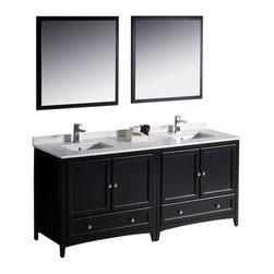 "Fresca - Oxford 72"" Espresso Double Sink Vanity Cascata Brushed Nickel Faucet - Blending clean lines with classic wood, the Fresca Oxford Traditional Bathroom Vanity is a must-have for modern and traditional bathrooms alike.  The vanity frame itself features solid wood in a stunning espresso finish that?s sure to stand out in any bathroom and match all interiors.   Available in many different finishes and configurations."