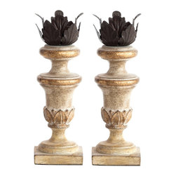 Aidan Gray Decor Painted Cream Mini Candlestick Set - Candlelight adds the perfect amount of romance to a bedroom, and these are some of the most beautiful candlesticks I have ever seen. The mix of white paint, soft gold details and iron on top makes this pair special and très French.