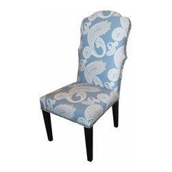 Mortise & Tenon - Traditional Dining Chair - If your guests are still hungry after sitting on these beautiful chairs, let them eat cake ... or pie. This throne is very Marie Antoinette, with shapely curves and frothy curls and embellishments like aged brass nailhead trim. It's upholstered royally in a soft French blue and white overscale paisley.