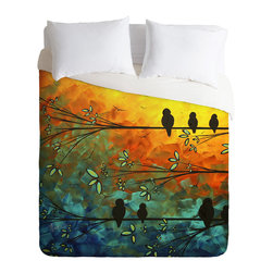 DENY Designs - madart inc Birds Of A Feather Duvet Cover - Turn your basic, boring down comforter into the super stylish focal point of your bedroom. Our Luxe Duvet is made from a heavy-weight luxurious woven polyester with a 50% cotton/50% polyester cream bottom. It also includes a hidden zipper with interior corner ties to secure your comforter. it's comfy, fade-resistant, and custom printed for each and every customer.