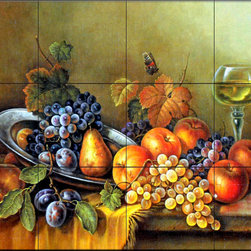 The Tile Mural Store (USA) - Tile Mural - Antique Still Life I - Kitchen Backsplash Ideas - This beautiful artwork by Corrado Pila has been digitally reproduced for tiles and depicts a nice colorful fruit mural.  Old world master tile murals are a great way to add something unique to your kitchen backsplash tile project. Make your tub and shower surround bathroom tile project exceptional with one of our decorative tile murals from an old world master painter.  Our tile murals created from the original artworks of master painters are timeless and the perfect addition to any wall tile project.