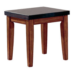 Steve Silver Company - Steve Silver Company Montibello Granite Top End Table - Steve Silver Company - End Tables - MG700E - The Montibello occasional table set is complete in a cherry finish with Black Granite tops. Frame of tables are wood. Table design is plain letting the beauty of wood and stone highlight these tables.