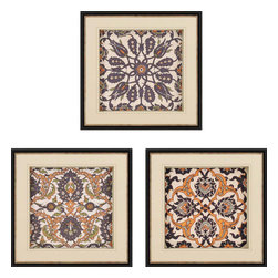 Paragon - Persian Tiles III PK/3 - Framed Art - Each product is custom made upon order so there might be small variations from the picture displayed. No two pieces are exactly alike.