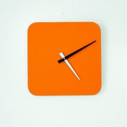 """Scale 1:1 - Bolla Quad Clock - Scale 1:1 Clocks are made of 100% recycled material and add colorful accents to your space. Combine them to make compelling and colorful wall art. Features: -Requires one AA battery not included. -Wall hook mounted on back. -Greenguard certified laminate. -Made in USA. Dimensions: -10.75"""" H x 10.75"""" W x 1"""" D, 2.75 lbs."""