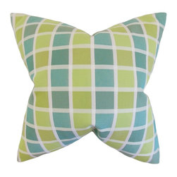 The Pillow Collection - Gali Geometric Pillow, Green - Decorate your home with a bright throw pillow from our collection.