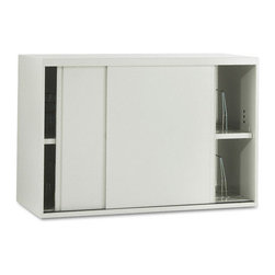 HON - HON Overfile Storage Cabinets - 42 x 18 x 27.9 - Steel - 2 x Shelf(ves) - Brigade Metal Overfile maximizes use of space above lateral files and is compatible with HON Flagship and Brigade 800, 700, 600 Lateral Files. Easily fasten it onto lateral file cabinets to store binders, manuals and other items. You can attach it to the wall behind a lateral file, or gang two overfiles together for added stability. Light Gray overfile can also be used on the floor under 29-1/2 high work surfaces. Design includes two shelves, four wire dividers per shelf, a core-removable lock and fastening hardware. One shelf is adjustable at 1 increments up to 6 from the center position. Overfile has locating slots every 3 along shelf and base. Depending on the location of the adjustable shelf, the overfile is capable of accepting two tiers of 12 high binders. Slide-by door design does not intrude into office or aisle space.