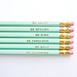 Gentle Reminders Pencils, Mint and Gold by Amanda Catherine Designs, Set of 6 - Maybe doing work (and taxes, ugh) would not be so bad if we all had desks stocked with adorable minty green pencils. And if those pretty pencils have little pep-talk sayings in gold, even better.