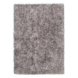 "Jaipur - Shag Solid Pattern Polyester Gray/ Area Rug, 3.6 x 5.6 - Personal expression reaches new heights with Flux, a beautiful range of plush, hand-woven shag rugs of 100% polyester. This ""chameleon"" is ideal for the contemporary design lover who enjoys mixing up his or her personal space often - acting as a rich background to a diverse palette of furnishings and accessories. Highly textured shag construction brings comfort underfoot while a palette of fashion forward solid hues commands attention in any room."
