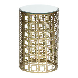 "Prima Design Source - Traditional Round Accent Table Antique Brass Finish Home Accent Decor - The item for sale is a lovely round accent table with pierced geometric pattern in antique brass finish. Perfect addition to any room in the home! Size is 15"" x 15"" x 22.25"". Color is Brass. Material is Iron, Beveled Mirrored Glass."