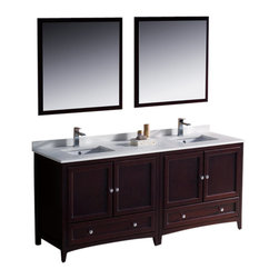"""Fresca - Oxford 72"""" Mahogany Traditional Double Sink Vanity Versa Brushed Nickel Faucet - Blending clean lines with classic wood, the Fresca Oxford Traditional Bathroom Vanity is a must-have for modern and traditional bathrooms alike.  The vanity frame itself features solid wood in a stunning mahogany finish that?s sure to stand out in any bathroom and match all interiors.   Available in many different finishes and configurations."""