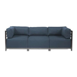 Howard Elliott Sterling Indigo Axis 3-Piece Sectional - Titanium Frame - A Fashionable Trio! Lounge in style on a Sterling Axis 3-piece Sectional will intoxicate your room with its uplifting style. Float the Sterling Axis 3-piece Sectional in your room for an intimate seating arrangement. Expand your sectional with additional chair, corner or ottoman pieces. The steel frame is available in 2 finishes allowing you to choose a frame to best compliment your color. This piece features boxed cushions with Velcro attachments to keep the cushions from slipping and looking their best all of the time. Your Sterling Axis 3-piece Sectional will definitely turn heads with its sophisticated linen-like texture and vibrant color selection.