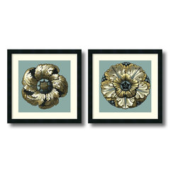Amanti Art - Vision Studio 'Floral Medallion II and V- set of 2' Framed Art Print 21 x 21-inc - The rosette patterns captured in bright color and delicate detail of the Floral Medallions II & V set by Vision Studio will bring a sense of elegant history to your decor.