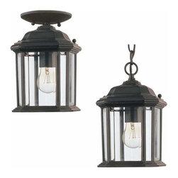 Sea Gull Lighting - 1-Light Semi-Flush Black - 60029-12 Sea Gull Lighting Kent 1-Light Semi-Flush Convertible Pendant with a Black Finish