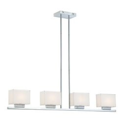 George Kovacs - George Kovacs | Cubism P128 4-Light Pendant Light - By George Kovacs.Combining square, mitered-glass shades with a sleek and modern structure, the Cubism 4-Light Pendant Light is a versatile piece, ideal for modern kitchens and hallways. The white interiors of each rectangular shade diffuse the light from xenon lamps to ensure an even and warm glow.Available in chrome and dorian bronze. Shown in chrome. Hanging height is adjustable.