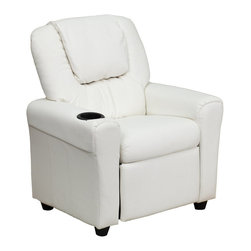 Flash Furniture - Contemporary White Vinyl Kids Recliner with Cup Holder and Headrest - Kids will now be able to enjoy the comfort that adults experience with a comfortable recliner that was made just for them! This chair features a strong wood frame with soft foam and then enveloped in durable vinyl upholstery for your active child. Choose from an array of colors that will best suit your child's personality or bedroom. This petite sized recliner is highlighted with a cup holder in the arm to rest their drink during their favorite show or while reading a book.