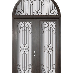 "Milano 72x96 Forged Iron Steel Double Door and Half Round Transom - ""SKU#    PHBFTDHRR4Brand    GlassCraftDoor Type    ExteriorManufacturer Collection    Buffalo Forge Steel DoorsDoor Model    MilanoDoor Material    SteelWoodgrain    Veneer    Price    12250Door Size Options      $Core Type    one-piece roll-formed 14 gauge steel doors are foam filled  Door Style    TraditionalDoor Lite Style    Full LiteDoor Panel Style    Home Style Matching    Mediterranean , Victorian , Bay and Gable , Plantation , Cape Cod , Gulf Coast , ColonialDoor Construction    Prehanging Options    PrehungPrehung Configuration    Double Door and Half Round TransomDoor Thickness (Inches)    1.5Glass Thickness (Inches)    Glass Type    Double GlazedGlass Caming    Glass Features    Insulated , TemperedGlass Style    Glass Texture    Clear , Glue Chip , RainGlass Obscurity    Door Features    Door Approvals    Wind-load RatedDoor Finishes    Three coat painting process"