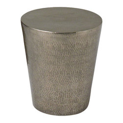Studio A - Izmir Hammered Side Table, Antique Nickel - Hand hammering brings out rich detail of the solid brass sheet, either in the natural antique bras or nickel plated, in the Izmir Side Table. Also useful as a stool or planter.
