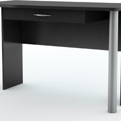 South Shore - Office Desk in Black - City Life Collection - Pure and simple, this handsome City Life Collection office desk will perfectly complement any contemporary d̩cor.  It features a large ample top with smooth rounded corners for safety.  Brushed silver tone column-style legs and drawer pull add an elegant touch. Manufactured from eco-friendly, EPP-compliant laminated particle boardcarrying the Forest Stewardship Council (FSC) certification. 1 Drawer. Assembly Required. 23.25 in. W x 47.5 in. D x 29.5 in. H Straight lines and a neutral pure black finish make the City Life collection ideal for coordinating with other furnishings. The finish richly emphasizes the collection's slim, chic silhouettes and coordinates easily with wide variety of interior designs. Clean lines and softened edges reveal a simple design, and the compact size of each piece allows a cozy fit in your studio apartment, loft or home office. Ample storage space in the furniture accommodates treasured display items, office necessities, books and other belongings while each piece occupies a small amount of living area, giving you room to breathe as well as the freedom of organized space.