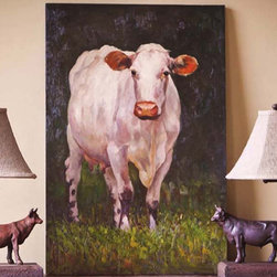 "Milking Shorthorn Painting - Our life-like bovine painting will add a stylish artistic statement and wonderful focal point to your farmhouse, country, or French country décor. Dimensions: 24""w x 36""h"