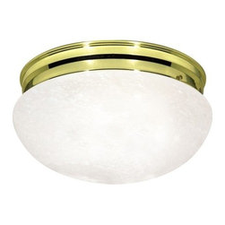 """Nuvo Lighting - Nuvo Lighting 76/678 Two Light 12"""" Flush Mount Ceiling Fixture - Nuvo Lighting 76/678 Two Light 12"""" Flush Mount Ceiling Fixture with Large Alabaster Mushroom Shade, in Polished Brass FinishNuvo Lighting 76/678 Features:"""