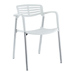LexMod - Fleet Metal Stacking Meeting Chair in White - Bring versatility to your meetings and events with a sturdy chair that fits all occasions. The Fleet stacking chair is made of stainless steel with a fashionable hard plastic seat and arm covering. The design is sleek and compact while providing the seating room necessary to accommodate your guests comfortably. Fleet stacks for easy storage.