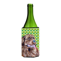 Caroline's Treasures - Newfoundland St. Patrick's Day Shamrock Portrait Wine Bottle Koozie Hugger - Newfoundland St. Patrick's Day Shamrock Portrait Wine Bottle Koozie Hugger Fits 750 ml. wine or other beverage bottles. Fits 24 oz. cans or pint bottles. Great collapsible koozie for large cans of beer, Energy Drinks or large Iced Tea beverages. Great to keep track of your beverage and add a bit of flair to a gathering. Wash the hugger in your washing machine. Design will not come off.