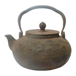 Golden Lotus - Chinese Rustic Iron Teapot Shape Display Decor - Not for beverage serving