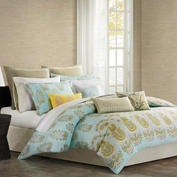 Echo - Echo Paros 300TC Multi Piece Comforter Set - The Paros Bedding Collection gives your bedroom a fresh, modern update. Made from 300 thread count cotton sateen, this comforter set features a background of teal, inspired by the color of the sky over the Greek island of Paros. An over scaled paisley motif repeats across the bottom of the comforter while a small floral motif repeats across the top giving a pattern variation that pulls the eye upwards. The color palette of teal, white, and dusty yellow provides a calming environment to your bedroom allowing you to relax at the end of your day. The set also includes two standard shams, two solid euro shams, three decorative pillows that accent the comforter beautifully, and a solid bed skirt. 100% Cotton