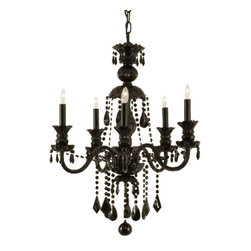 "The Gallery - JET BLACK CRYSTAL CHANDELIER LIGHTING H30"" x W24"" - JET BLACK CRYSTAL CHANDELIER. A Great European Tradition. Nothing is quite as elegant as the fine crystal chandeliers that gave sparkle to brilliant evenings at palaces and manor houses across Europe. This unique version from the Royal Collection features the NEW JET BLACK 100% crystal that capture and reflect the light of the candle bulbs, each resting in a scalloped bobache. The timeless elegance of this chandelier is sure to lend a special atmosphere in every home! Lightbulbs not included.Assembly Required."