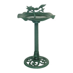 Alpine - Lotus Birdbath - This birdbath features a sturdy base and a concave bowl perfect for your feathered friends in any way. Use them as a strategic accent to your patio setting or move it into the garen and create a perfect centerpiece.Features: