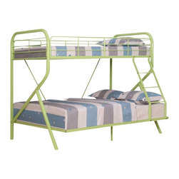 Adarn Inc - Purple/Green/Orange Metal Twin over Full Bunk Bed w/ Right-Facing Ladder, Green - Features: