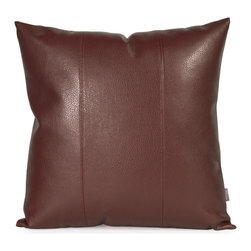 """Howard Elliott - Avanti Pecan 20"""" x 20"""" Pillow - Pillows are made to order. Change up color themes or add pop to a simple sofa or bedding display by piling up the pillows in a multitude of colors, textures and patterns. This Avanti Pillow features a rich pecan brown color, textured grain and a paneled design to give the look of true leather. This Avanti Pecan piece is 100% polyurethane faux leather finished in deep brown. 20 in. x 20 in."""