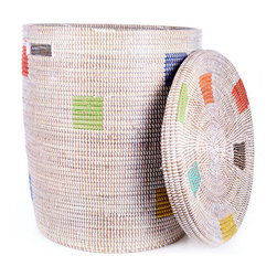 Rainbow Dot Hamper - Handwoven by an association of more than 100 rural Wolof Women in Senegal.