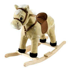 "Trademark Global - Happy Trails Rocking Lil Henry The Horse - Hand crafted. Sturdy wooden rockers stand. Age group: 2-3 years. Made from wood. 28.5 in. W x 13 in. D x 23.38 in. H (7 lbs.)This soft, plush Rocking Horse Jr. from Happy Trails is sure to be your cowboy or cowgirl's favorite toy. Your little one will enjoy hours ""riding the range"" on this wonderful Rocking Horse Jr. from Happy Trails."