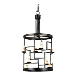 Kathy Kuo Home - Spigo Mid Century Modern Metal Cylinder 8 Light Pendant Lamp - When is a square not a square?  When it is embedded into a contemporary black metal cylinder lantern.  Eight lights perch on the ledges of these small squares, making for a cubist or abstract interpretation of a black iron modern lantern.