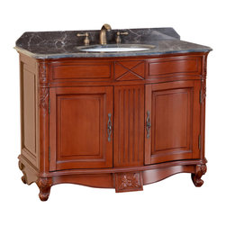"Bosconi - 42"" T-3687 Classic Single Vanity - Antique Red - This wider Bosconi Classic model is perfect for any bathroom decor. It features a large two-door cabinet adorned with Antique Brass hardware. This vanity also offers simple craftsmanship, with design etched into its solid frame. The Antique Red finish with Dark Emperador Marble completes the look of a practical Classic appeal."