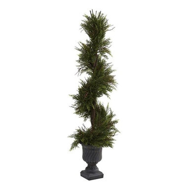 Nearly Natural - Mini Pine Spiral Plant with Urn - Beautiful spiral effect. Decorative urn. Perfect for indoor and outdoor. Also makes a great gift. Made from silk. Green color. Planter: 7.5 in. Dia. x 10 in. H. Overall: 13 in. Dia. x 45 in. HHere's a beautiful decorative piece that you can use anywhere - your living room, a study, or the back porch! This spiral consists of a faux lush green pine, trimmed to a spiral shape, twisting ever skyward. Complete with decorative urn, this beauty will keep its shape and look fresh for years, without water or trimming. Ideal for any d̩cor, it also makes a great gift.