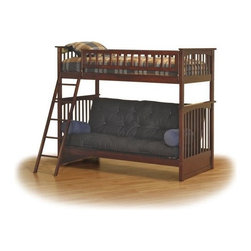 Columbia Bunk bed twin/futon in Antique Walnut by Atlantic Furniture - The Columbia Bunk Bed is the perfect mission-style bunk bed for your children's bedroom. Available in twin-over-twin, twin-over-full, or twin-over-futon designs with railings on the top bunk, the sturdy Columbia Bunk Bed is constructed of solid hardwood. Add optional under-bed storage drawers or an optional trundle unit (neither option works with twin-over-futon style) under the bed to provide even more convenient space. The bunk bed comes with two modesty panels, which can be attached to both ends of the bunk bed to give the Columbia Bunk Bed a more grounded look. Available in Natural Maple, Antique Walnut, and White finishes, the Columbia Bunk Bed is sure to become your child's favorite sleepy-time fort.