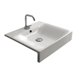 """WS Bath Collections - Cento 3546 Semi-recessed Bathroom Sink 19.7"""" x 17.7"""" - Cento by WS Bath Collections Bathroom Sink, Designed by Marc Sadler of Italy, semi-recessed installation, in ceramic white"""