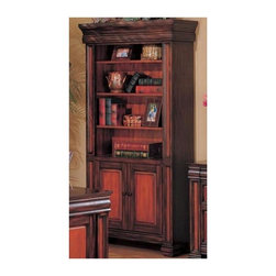 Coaster - Chomedey Traditional Bookcase - Four spacious upper shelves. Two lower doors. Antique style metal ring pulls and knobs. Classic molding trims. Block feet. Clean lines. Made from wood and veneers. Warm medium two tone finish. 37 in. W x 15 in. D x 74 in. H. WarrantyThis elegant traditional bookcase will be a wonderful addition to your home office. Add this stunning combination bookcase to your home office for a stylish update with functional storage.