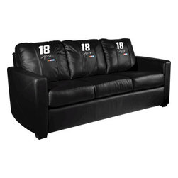 Dreamseat Inc. - Kyle Busch #18 NASCAR Xcalibur Leather Sofa - Check out this incredible Sofa. It's the ultimate in modern styled home leather furniture, and it's one of the coolest things we've ever seen. This is unbelievably comfortable - once you're in it, you won't want to get up. Features a zip-in-zip-out logo panel embroidered with 70,000 stitches. Converts from a solid color to custom-logo furniture in seconds - perfect for a shared or multi-purpose room. Root for several teams? Simply swap the panels out when the seasons change. This is a true statement piece that is perfect for your Man Cave, Game Room, basement or garage.