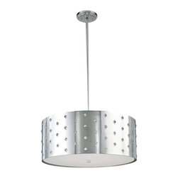 "George Kovacs - Bling Bling Pendant/Chandelier - Totally hip and so very contemporary, this perforated steel chandelier brings a bit of ""bling"" to your space. An adjustable height makes it ideal for large and small spaces. It's flashy without being overbearing and fabulous in a live-work space or studio apartment."