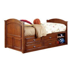 Lea Industries - Lea Deer Run Captain Bed in Brown Cherry - Twin - Welcome to the Deer Run furniture collection . This is an exciting collection of youth furniture that offers up brand new ways to think about sleep, study and storage. Unique extensions for the traditional bunk bed and lift bed create even more sleep options that utilize space. Case pieces fit underneath and around these beds so you can create a whole room setting in a limited amount of space. The brown cherry color finish and antiqued pewter hardware add a classic lifestyle look to this line. Multiple sleep, study and storage options make Deer Run a great collection for any age range. We are sure you will find a room set up that works for your Child. Safety is one of the key elements Parents look for when buying products for their Children. As a supplier of Children's furnishings, we are committed to ensuring our products meet or exceed the safety requirements defined by the Consumer Product Safety Commission and the ASTM. design and function combined with safety features makes the Deer Run collection an ideal choice for any Child's room.