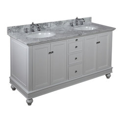 Kitchen Bath Collection - Bella 60-in Double Sink Bath Vanity (Carrara/White) - This bathroom vanity set by Kitchen Bath Collection includes a white cabinet, soft close drawers, self-closing door hinges, Italian Carrara marble, double undermount ceramic sinks, pop-up drains, and P-traps. Order now and we will include the pictured three-hole faucets and a matching backsplash as a free gift! All vanities come fully assembled by the manufacturer, with countertop & sink pre-installed.