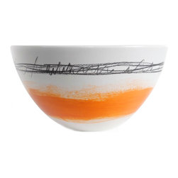 Gail Garcia Dinner-Ware - Tall Bowl, Large, Orange Band - Bold brushstrokes dance across a field of buff-colored earthenware in this stunning serving piece by New York artist Gail Garcia. Each bowl is hand-painted and one of a kind, with a matte exterior and gloss interior. It will be beautiful filled with salad, pasta or soup, or just displayed on its own.