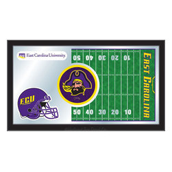 "Holland Bar Stool - Holland Bar Stool East Carolina Football Mirror - East Carolina Football Mirror belongs to College Collection by Holland Bar Stool The perfect way to show your school pride, our Football Mirror displays your school's symbols with a style that fits any setting.  With it's simple but elegant design, colors burst through the 1/8"" thick glass and are highlighted by the mirrored accents.  Framed with a black, 1 1/4 wrapped wood frame with saw tooth hangers, this 15""(H) x 26""(W) mirror is ideal for your office, garage, or any room of the house.  Whether purchasing as a gift for a recent grad, sports superfan, or for yourself, you can take satisfaction knowing you're buying a mirror that is proudly Made in the USA by Holland Bar Stool Company, Holland, MI.   Mirror (1)"